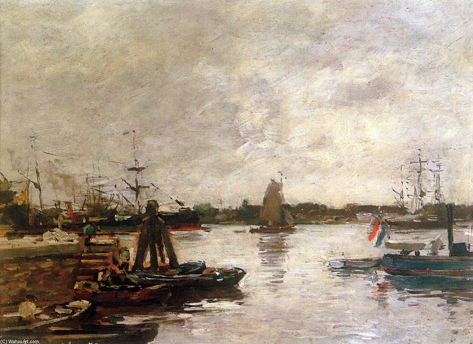 famous painting The Spanish quay in Rotterdam Sun of Eugène Louis Boudin