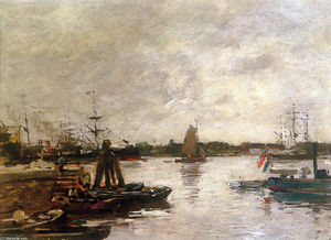 Eugène Louis Boudin - The Spanish quay in Rotterdam Sun