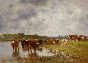 Eugène Louis Boudin - Cows in a Meadow on the Banks of the Toques
