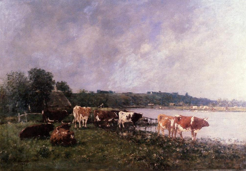 famous painting Cows on the Riverbanks of the Touques of Eugène Louis Boudin