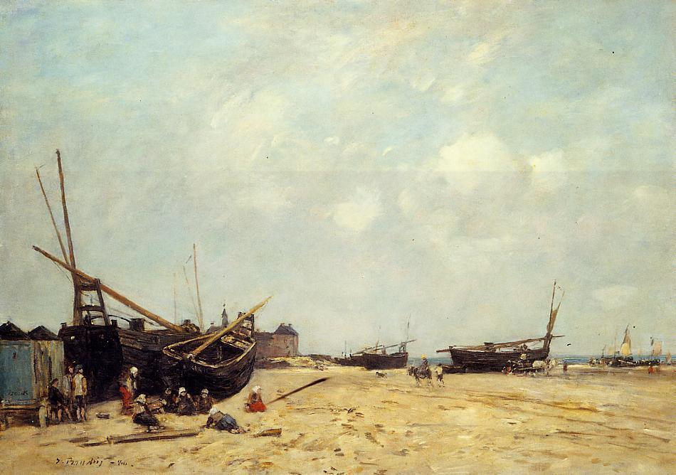 famous painting Fishing Boats Aground and at Sea of Eugène Louis Boudin