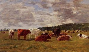 Eugène Louis Boudin - Pasture at Deauville