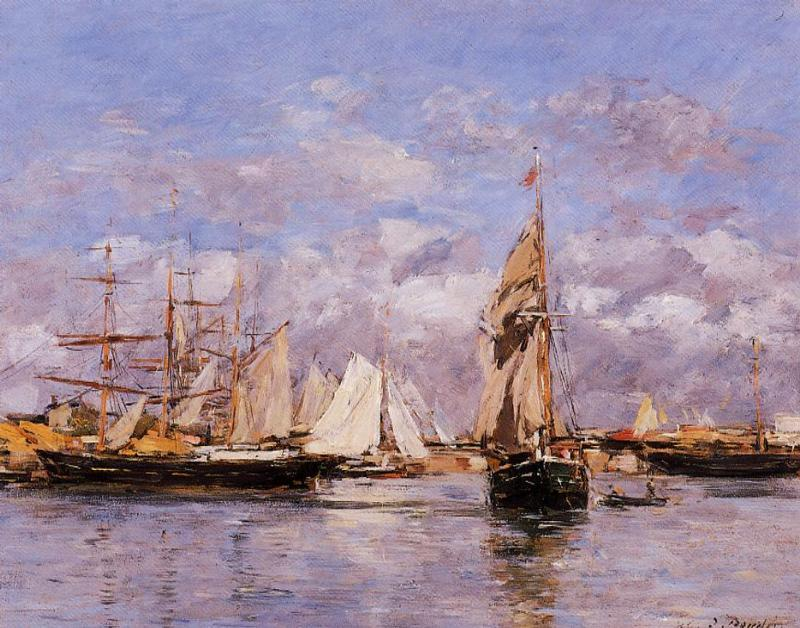 famous painting The Port of Trouville, High Tide of Eugène Louis Boudin