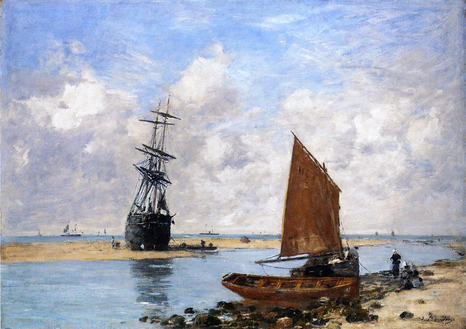 famous painting The Trouville Chanel, Low Tide of Eugène Louis Boudin