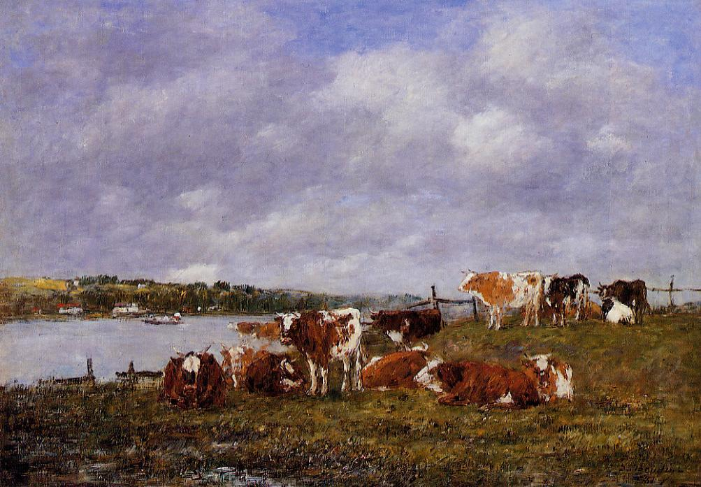 famous painting Pasturage, the Valley of the Touques of Eugène Louis Boudin