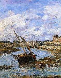 Eugène Louis Boudin - Trouville, the Inner Port, Low tide