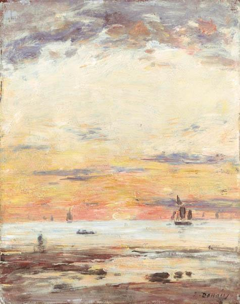 famous painting Ebb on sunset of Eugène Louis Boudin