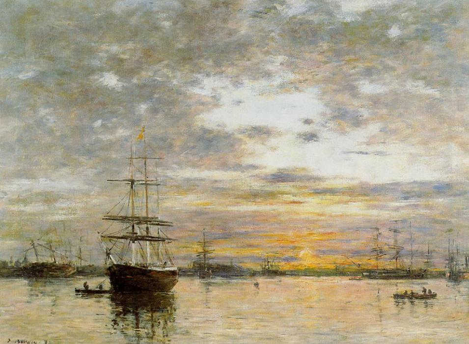 famous painting The Port of Le Havre at Sunset of Eugène Louis Boudin