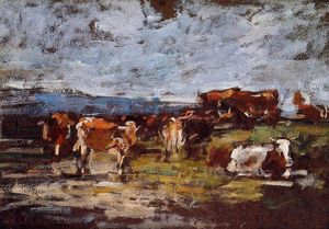 Eugène Louis Boudin - Cows in a Pasture
