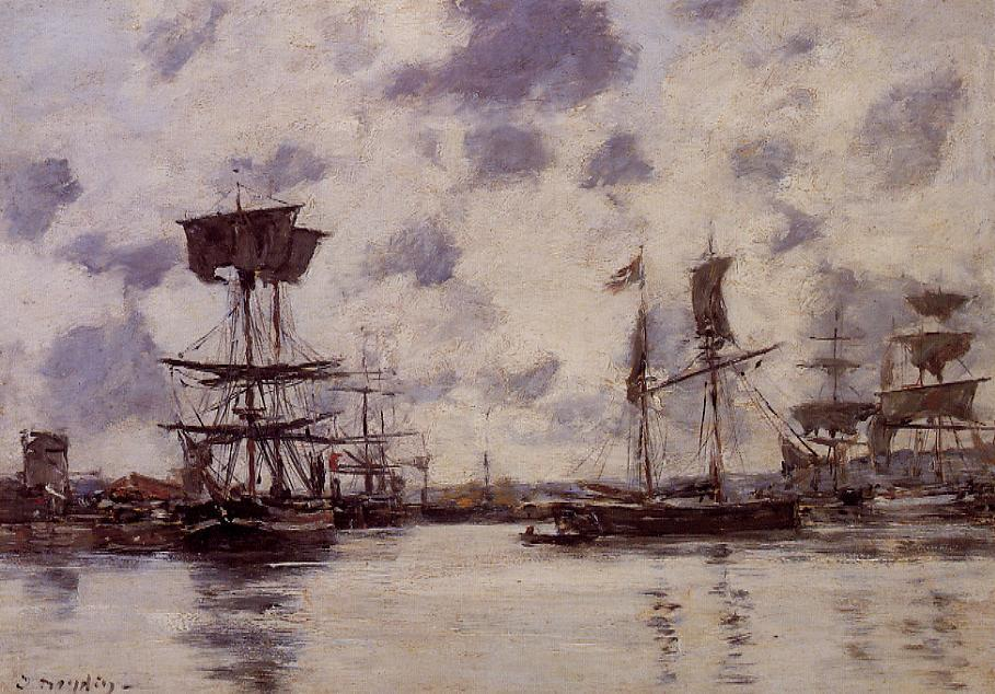 famous painting Sailing Boats at Anchor of Eugène Louis Boudin