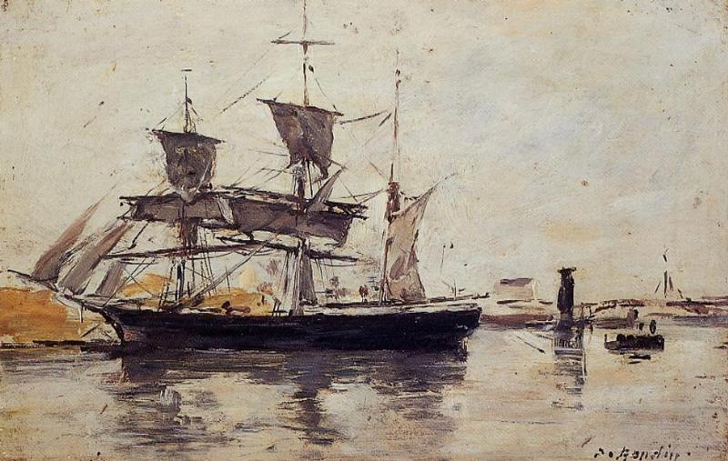 famous painting Three Masted Ship at Dock of Eugène Louis Boudin