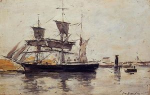 Eugène Louis Boudin - Three Masted Ship at Dock