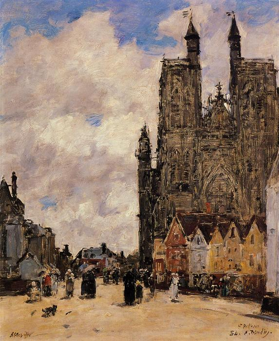 famous painting Abbeville, Street and the Church of Saint-Folfran of Eugène Louis Boudin