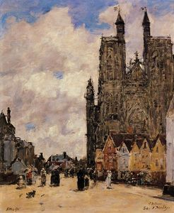 Eugène Louis Boudin - Abbeville, Street and the Church of Saint-Folfran