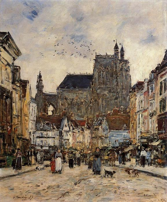 famous painting Abbeville, Street and the Church of Saint-Vulfran of Eugène Louis Boudin