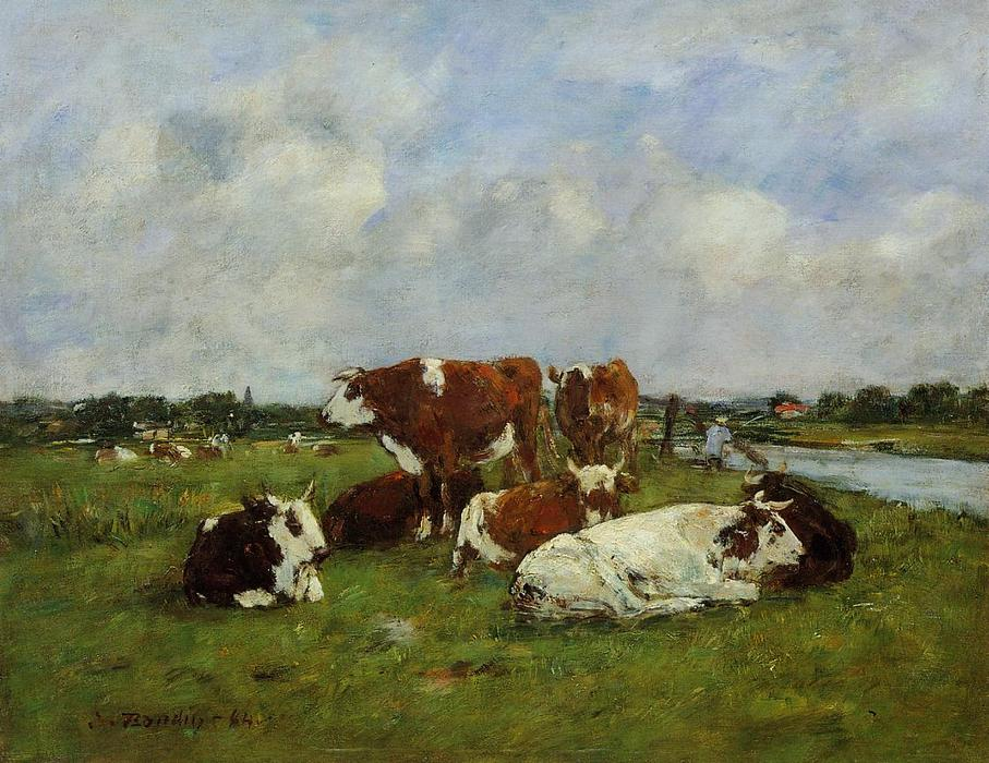 famous painting Pasturage on the Banks of the Touques of Eugène Louis Boudin