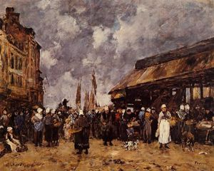 Eugène Louis Boudin - Trouville, the Fish Market
