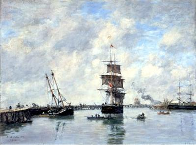 famous painting Trouville, piers, high tide of Eugène Louis Boudin