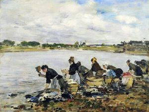 Eugène Louis Boudin - Laundresses on the Banks of the Touques