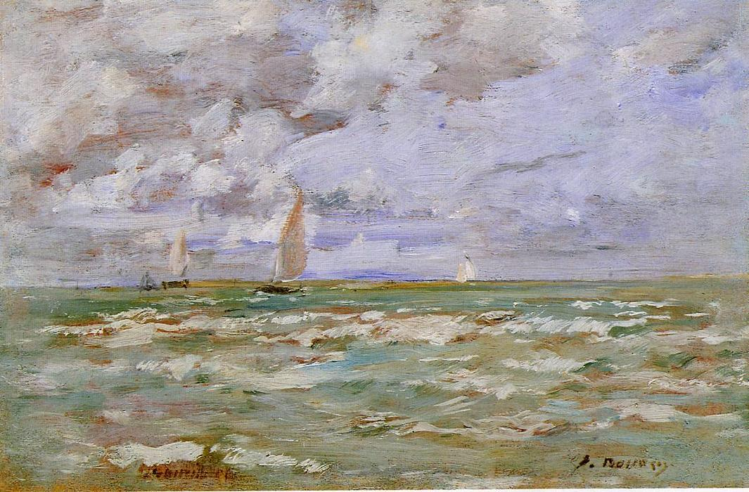 famous painting Standing off Deauville of Eugène Louis Boudin
