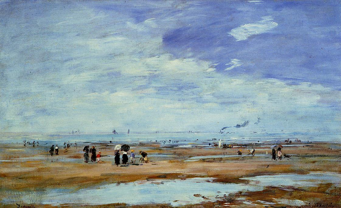 famous painting Deauville, the Beach, Low Tide of Eugène Louis Boudin
