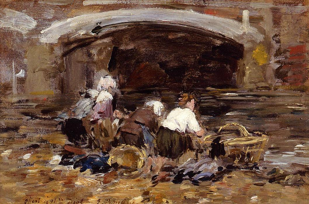 famous painting Laundresses near a Bridge of Eugène Louis Boudin