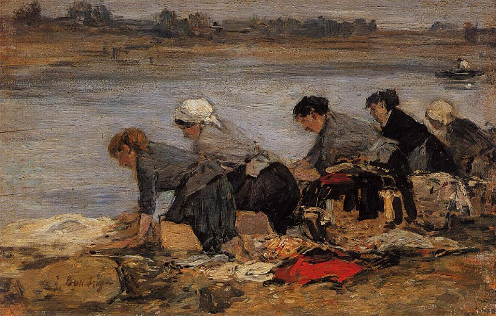 famous painting Laundresses on the Banks of the Touques of Eugène Louis Boudin