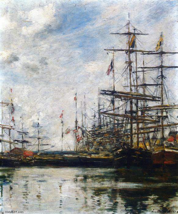 famous painting The Port, Ships at Dock of Eugène Louis Boudin