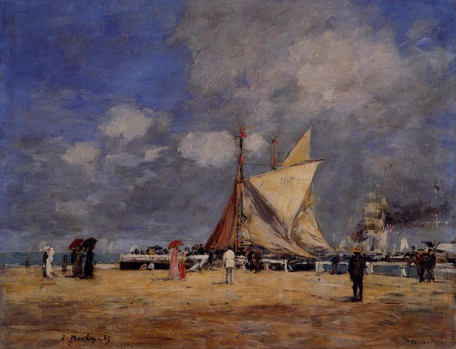 famous painting Deauville, on the Jetty of Eugène Louis Boudin