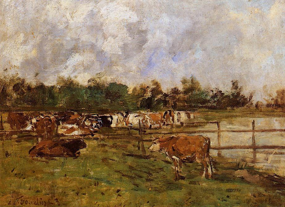 famous painting Cows in the Meadow of Eugène Louis Boudin