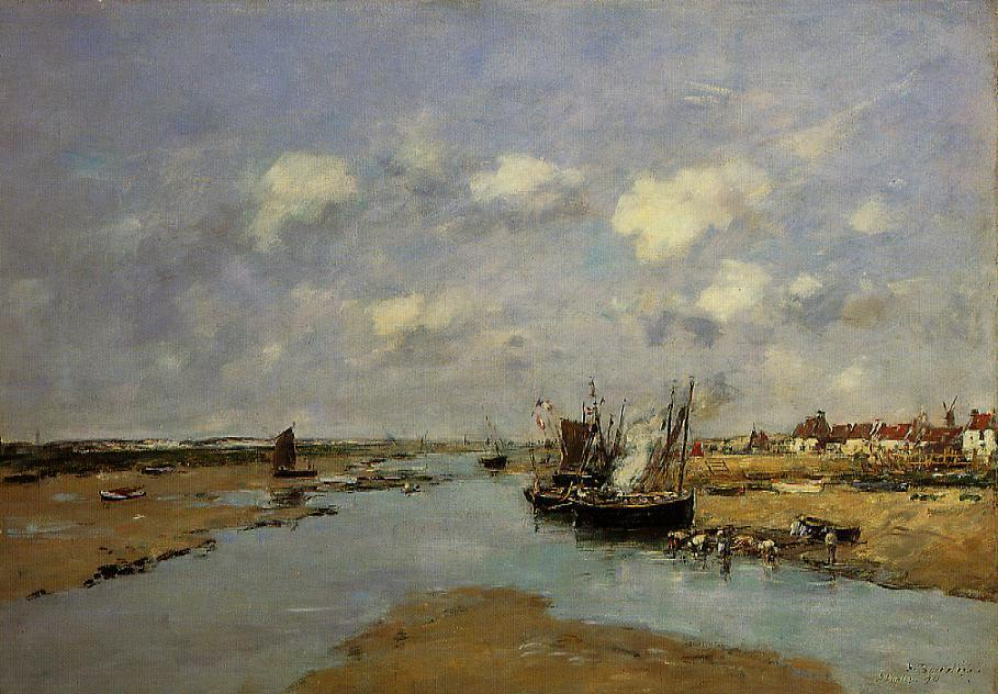 famous painting Etaples, La Canache, Low Tide of Eugène Louis Boudin