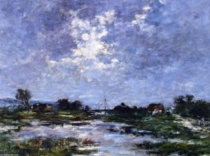 Eugène Louis Boudin - Moonlight on the Marshes, The Toques