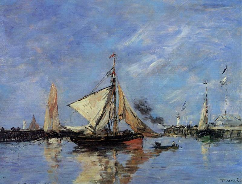 famous painting Trouville, the Jettys, High Tide of Eugène Louis Boudin