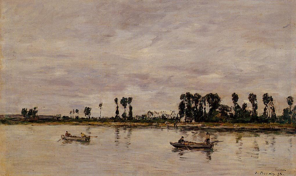 famous painting Caudebec-en-Caux, Banks of the Seine of Eugène Louis Boudin