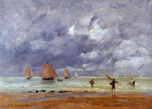 Eugène Louis Boudin - Fishermen and Sailboats near Trouville