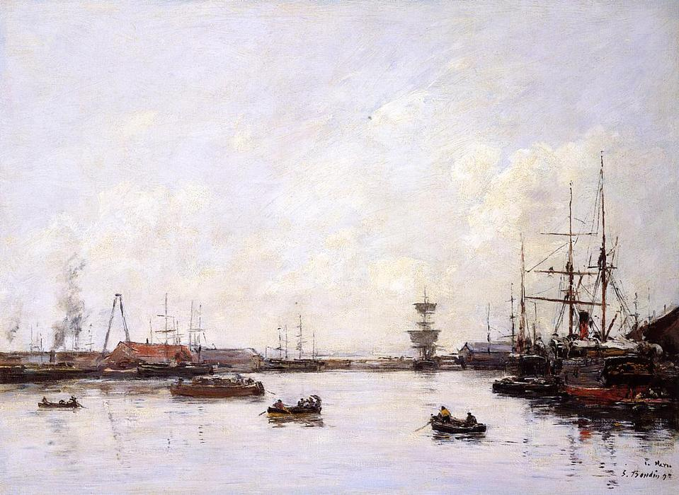 famous painting Le Havre. Basin of Eure. of Eugène Louis Boudin