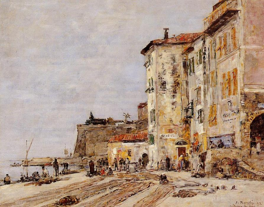 famous painting Quay at Villefranche of Eugène Louis Boudin