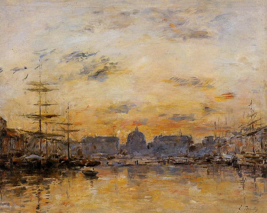 famous painting The Commerce Basin, Le Havre of Eugène Louis Boudin