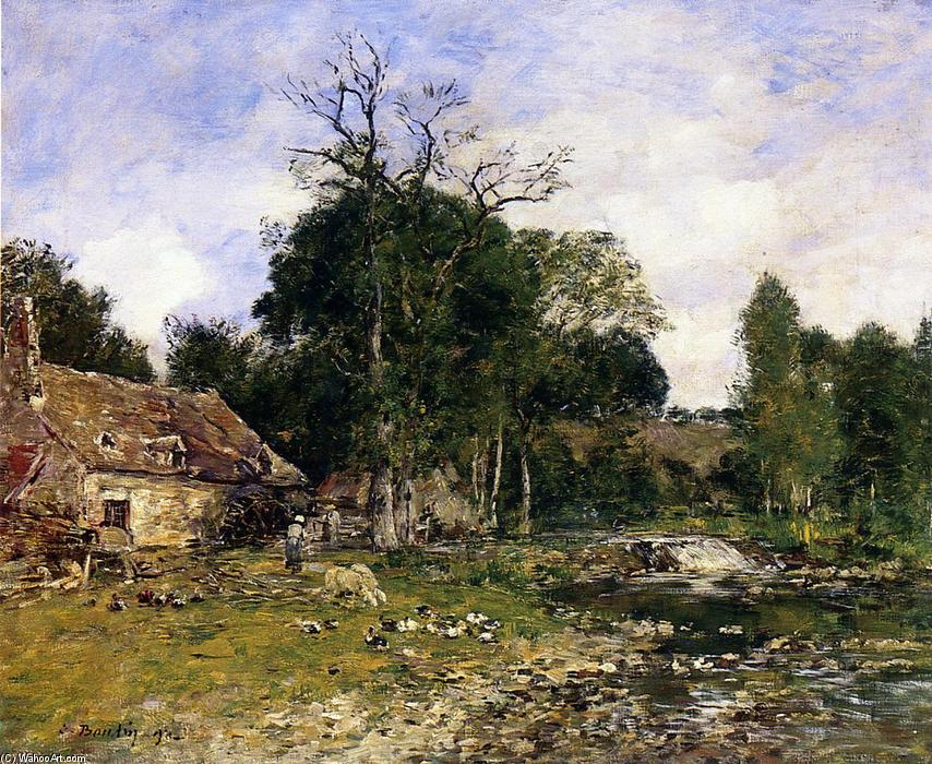 famous painting The Mill, Saint-Cenery of Eugène Louis Boudin