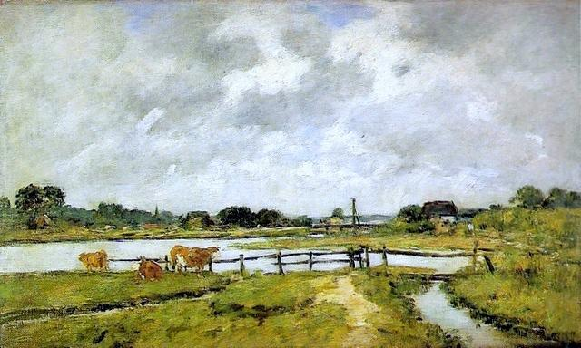 famous painting The Valley of the Touques. Cows in the Meadow. of Eugène Louis Boudin