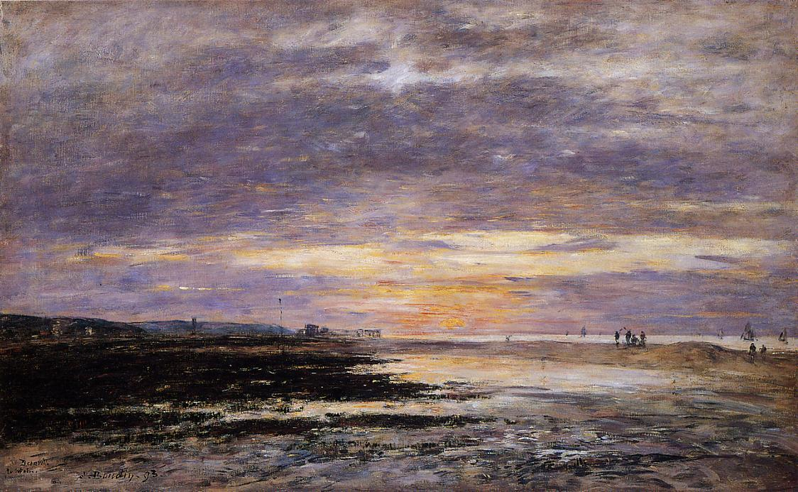 famous painting Deauville, Sunset on the Beach of Eugène Louis Boudin