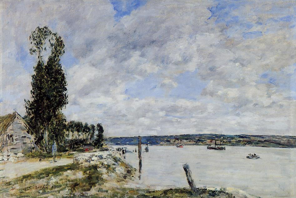 famous painting Quillebeuf surroundings, Tray of Mailleraye of Eugène Louis Boudin
