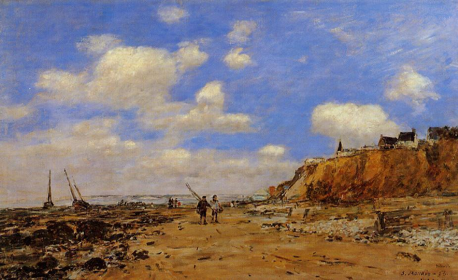 famous painting Shoreline with Rising Tide, October of Eugène Louis Boudin