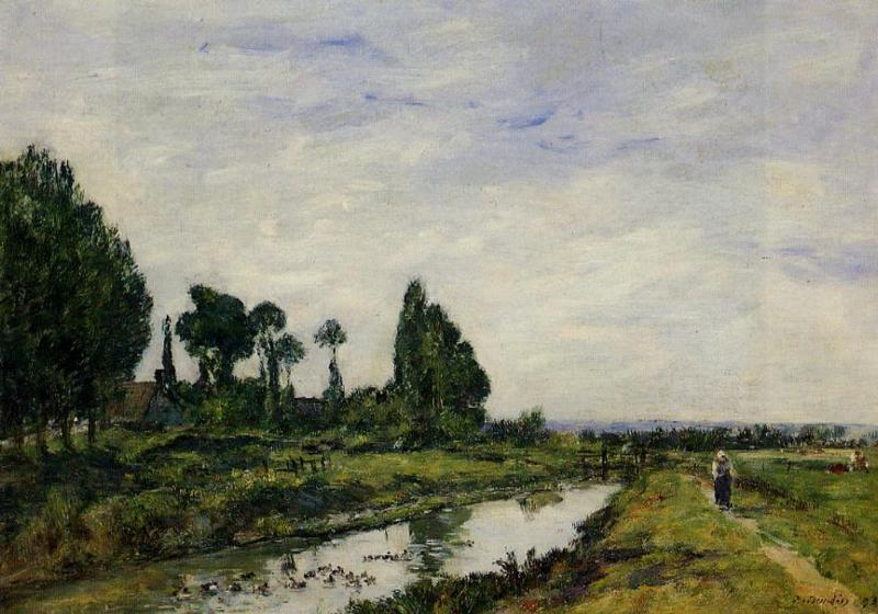 famous painting Small Canal at Quilleboeuf of Eugène Louis Boudin