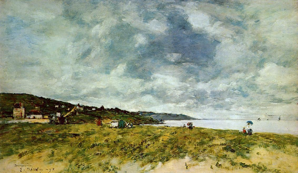 famous painting The Shore at Tourgeville of Eugène Louis Boudin