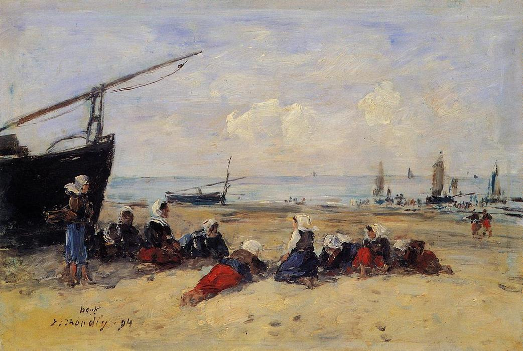 famous painting Berck, Fisherwomen on the Beach, Low Tide of Eugène Louis Boudin