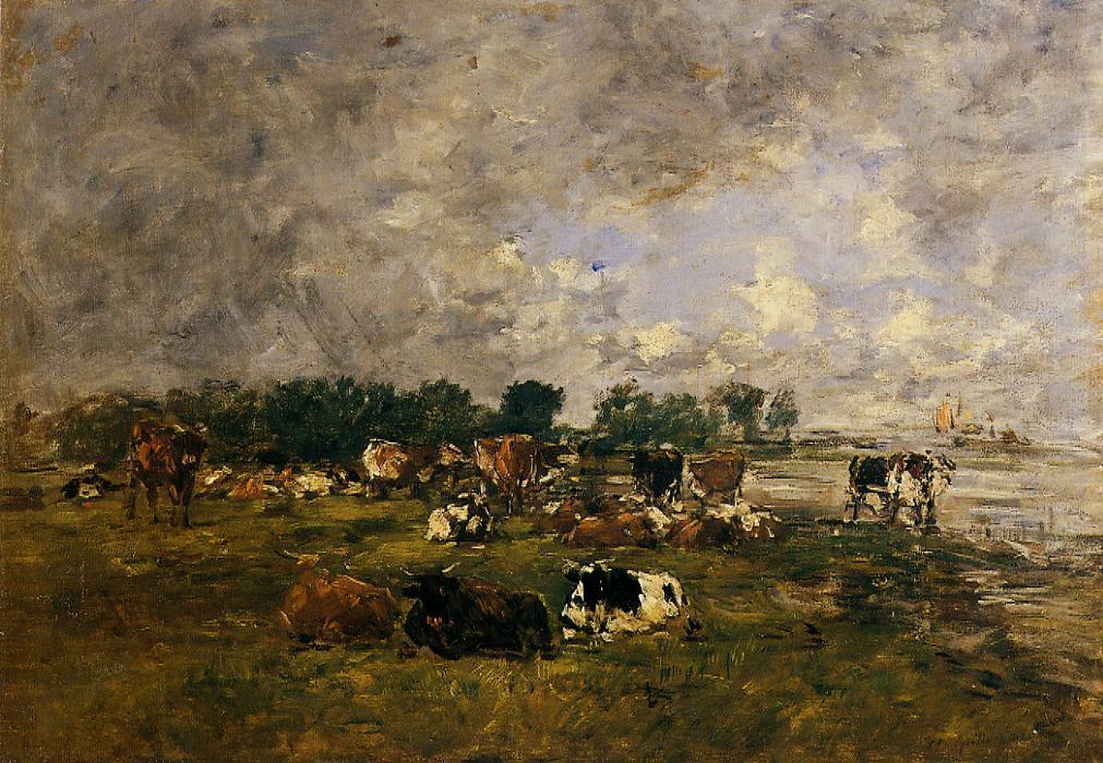 famous painting Cows in the Fields of Eugène Louis Boudin