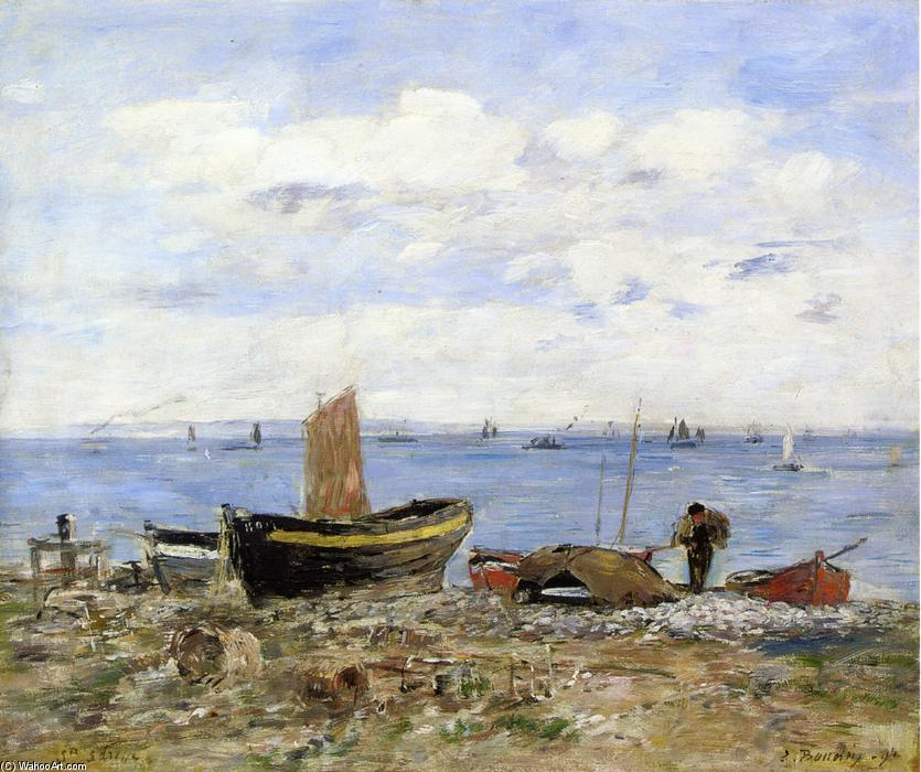 famous painting Shore at Sainte-Adresse, Low Tide of Eugène Louis Boudin
