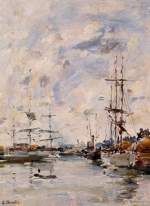 famous painting The Deauville Basin of Eugène Louis Boudin