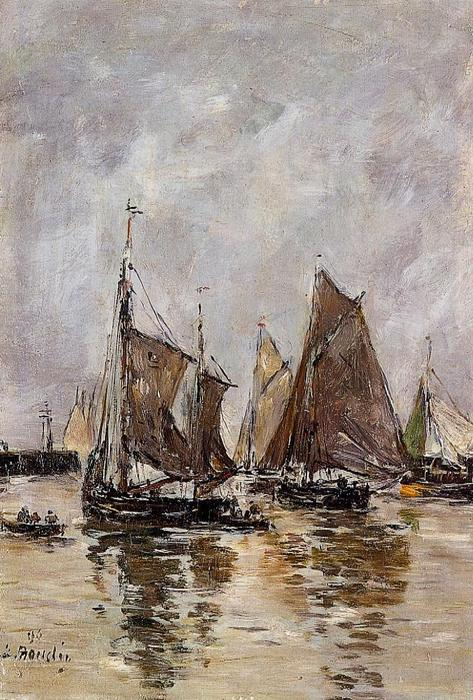 famous painting Trouville, Sardine Boats Getting Underway of Eugène Louis Boudin